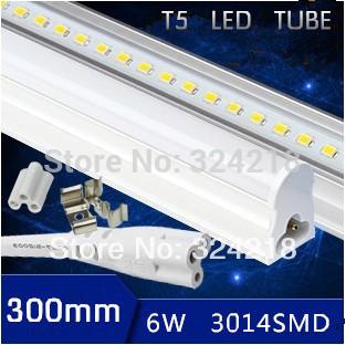 Free shipping 2pcs led tube t5 300mm/30cm 6w 12v led tube light 12v led solar tube lamp 500-600lm t5 integrated fluorescent tube(China (Mainland))