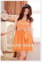 Fashion Sweetheart Hot Sale  2014 Summer Flower-net Bow Bra Strapless Plus Size  Mini Woman Party Dress/Prom Dresses  Z-LS0015