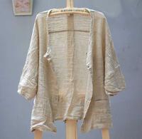 Linen casual women's loose brief cardigan top fluid outerwear linen cardigan