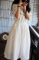 Fresh precedes brief design drawstring long slim waist one-piece dress