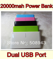 dual Usb Port Power Bank 20000mAh portable charger External Battery for iphone Smart Phones With usb cable 2pcs free shipping