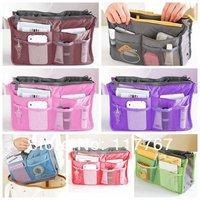1pcs/lot New  Fashion Large Dual Organizer Mp3 Phone Cosmetic Book Storage Nylon Bag Handbag Purse Women Make Up Bag 640198