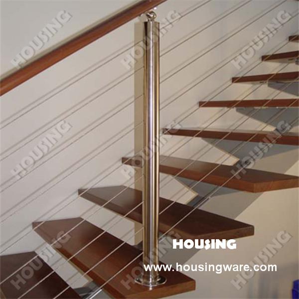 Moderna escalera de madera balaustradas y pasamanos con - Pasamanos de madera modernos ...