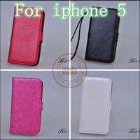 2014 Hot Sale Luxury Genuine Leather Case Cover for Apple iPhone 4 4s 5 5s 5c with Card Hold & Sling Free Shipping