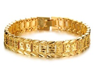 OLL JEWELRY Classic 18K Real Gold plated Gorgeous Bracelet & Bangle length 21cm Men's attractive jewelry Top Workmanship 397