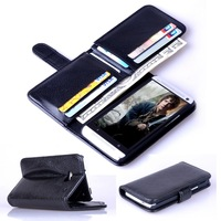M7 Wallet Leather Phone Case For HTC One M7 Case Stand Design  With 6 Card Holders Business Man Flip Cover Free Shipping