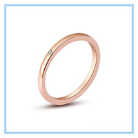 Rose Gold 316L Stainless Steel CZ Wedding Engagement Band Thin Slim Rings for Women Finger Decorative Ring Jewelry