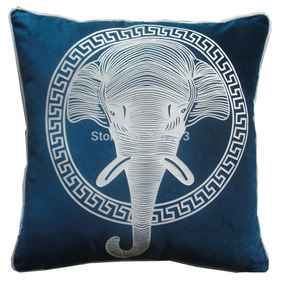 Nova chegada 2 peças/lote impressão de preços por atacado elefante capa de almofada 100% algodão(China (Mainland))