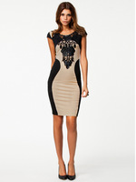 Women Sexy Fashion Slim Leather Lace Bodycon Party Cocktail Club Evening Dress