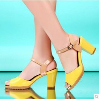 [Free shipping] 2014 New arrival fashion female open toe thick heel candy color platform sandals women's shoes