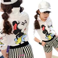 Girl  Minnie Mouse cartoon fashion white long-sleeved shirt 2014 spring Korean child kid kids Children