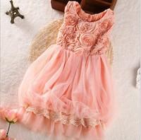 flower girl dresses New  2014  Fashion  Summer  Kids  Rose  Lace  Gauze  Sleeveless  Vest   Princess  Party  Dresses  5pcs/lot