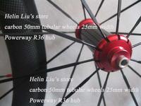 Ultraligt carbon tubular wheelset,Road 50mm tubular wheels 25mm width with Powerway R36 hub