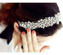 Free Shipping !!!Fashion Elegent Lace Rhinestone Women Hair Bands,White(China (Mainland))