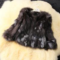New 2014! Hot Sale! Women Genuine Silver Fox Fur CoatsJacketsNatural Fur Vests Waistcoats Slim Short Customize Women's Fur
