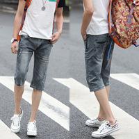 ...*-*.Spring Summer style Korean Slim / zipper men's Shorts / fashion s casual cotton pants feet
