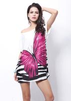 2014 New Arrival Women's Bohemian Loose Dress Summer Dress Butterfly Pattern Thin Blouse Tops casual dress Z011