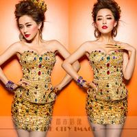 Free shipping!!  2014 Sweets gold costume dress short evening dress party dresses vestidos de fiesta