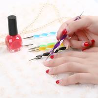 free shipping 5pcs 2way Nail Polish Art Dotting Marbleizing Pen Tools be used on Natural nails #L014152