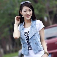 aolover women vest jeans windproof denim sleeveless jacket WF1001 Sky blue, Blue, Dk blue 3colors Hot sale