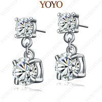 18K White Gold Plated Ear Drop Use Shining Austria Crystal Simulated  Diamond Earring(YOYO E113W1)