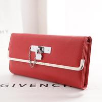 women Lock chain clutch wallet solid messenger shoulder bags phone big wallets Multi-card coin purse European style