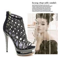 [Free shipping] 2014 New arrival fashion female 14cm ultra high-heeled platform rhinestone cutout banquet sandals women's shoes