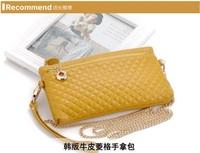 2014 New women's handbag women's day clutch chain bag plaid knitted one shoulder cross-body bag clutches bag Free shipping
