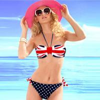 Free Shipping women swimming suit fashion sexy swimwear neck strap swimsuit Australian Flag bikini 3055