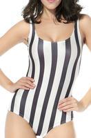 Best Quality RE-52 2014 New Summer Sexy bikini swimwear Black & White Stripe Print Swimsuit Free shipping