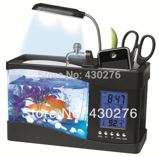 USB creative aquarium pencil holder multi functional ecology fish tank desk organizer office supplies pen holder with LED lamp(China (Mainland))