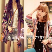 New Colorful Lady Boho Ethnic Rainbow Weave Stripe Knit V Neck Sweater Cardigan 650925-650926