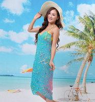 2014 New style  Fashion Saress Bikini Wrap Dress Women's Sarong Swim cover-ups Cross Beach dress Feather