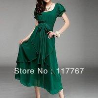 Hot Sale New Women's Short  Sleeve Korean Vintage Chic Irregular Coffion Short  Fashion Ball Dress Free Shipping 652087