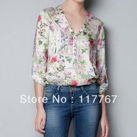 Fashion Women Floral Prints V-Neck Long Sleeve Loose Chiffon Shirt Top S/M/L Free Shipping 651662-