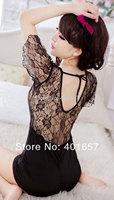 Women's  Sexy lingerie  temptation transparent gauze lace nightgown, lace sexy package hip slim