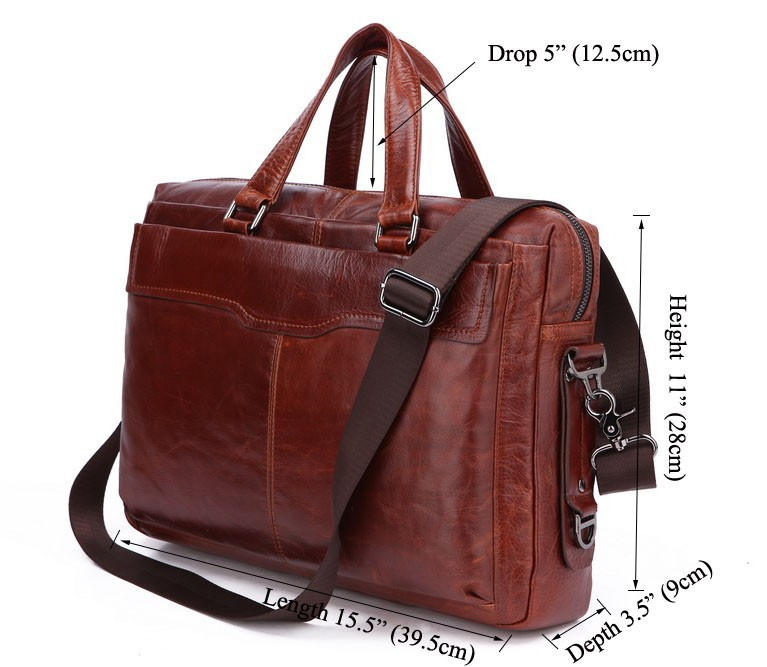 7162B Classic Vintage Leather Men's Chocolate Hand Laptop Bag Briefcase Messenger bag for men free shipping(China (Mainland))