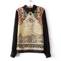 1pc Women Blouses Autumn Shirts Retro Printed Floral Casual Long Sleeve Chiffon Vintage Lapel Formal Work Designer Tops 653552