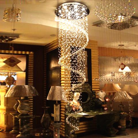 híbrido- tipo escada pingente de cristal de luz transformar grandes pingente luz híbrido- tipo escada loft lâmpada de cristal pingente espiral longa(China (Mainland))