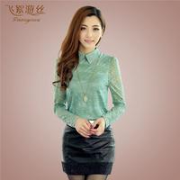 2015 spring lace chiffon blouse top long-sleeve turn-down collar basic blouses blusas femininas size m-2xl free shipping 15