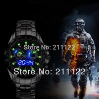 TVG 2014 Sports men full steel watches Quartz military Watch city Hunter LED Luminous Pointer 30AM Waterproof  men wristwatch