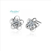 Wholesale jewelry PF brand stud earrings five leaf flower 925 silver & AAA swiss crystal & platinum stud earrings