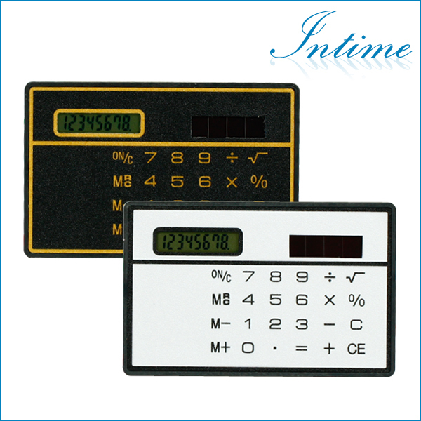 Free Shipping Mini Slim Credit Card Solar Power Pocket Calculator For a Gift(China (Mainland))