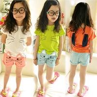 Free Shipping-2014 Summer New Style Cute Girl's Cartoon Cat Suit Short sleeveT-shirt+Shorts.100% Cotton&Beautiful 3Colors.