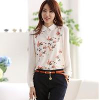 new 2015 blouse women chiffon blusas basic blusas  spring and autumn women blusas print long-sleeve blusas  women blouses 15