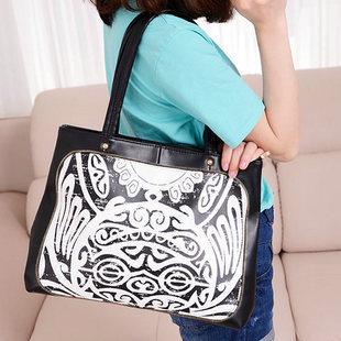 The newest design fashionable Super FX Koean style PU leather Women handbags2014(China (Mainland))