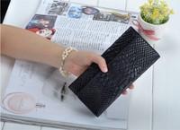 Genuine cowhide leather serpentine pattern women's wallet clutch wallet fashion purse Free shipping