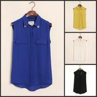 New 2014 Spring Fashion Women Blouses Metal Collar Shirt Lapel Sleeveless Chiffon Blouse Shirt Lady Casual Chiffon Vest Tops