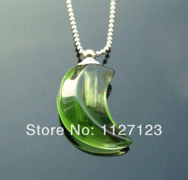 25pcs/lot green moon Rice vials pendants rice vial pendant perfume empty glass bottle glass spray perfume bottl(China (Mainland))