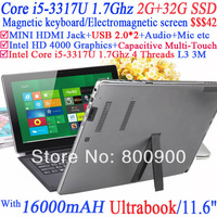 11.6 inch netbook Laptop with Intel i5-3317U 1.7Ghz Magnetic keyboard Electromagnetic screen optional 2G RAM 32G SSD Dual System